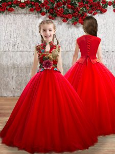 Best Floor Length Red Child Pageant Dress High-neck Sleeveless Lace Up