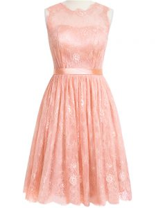 Gorgeous Peach Lace Zipper Quinceanera Dama Dress Sleeveless Knee Length Lace