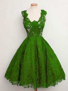 Captivating Green Straps Lace Up Lace Quinceanera Court of Honor Dress Sleeveless