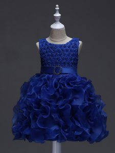 High End Royal Blue Ball Gowns Ruffles and Belt Girls Pageant Dresses Lace Up Organza Sleeveless Knee Length