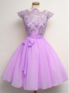 Pretty Chiffon Cap Sleeves Knee Length Quinceanera Court Dresses and Lace and Belt