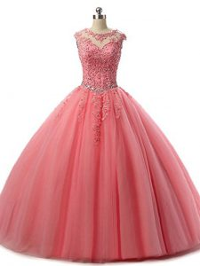 Glamorous Sleeveless Floor Length Beading and Lace Lace Up Vestidos de Quinceanera with Watermelon Red
