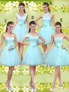 Sleeveless Tulle Knee Length Lace Up Quinceanera Court Dresses in Aqua Blue with Lace and Belt