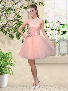 Popular Peach Quinceanera Court of Honor Dress Prom and Party with Lace and Belt Halter Top Sleeveless Lace Up