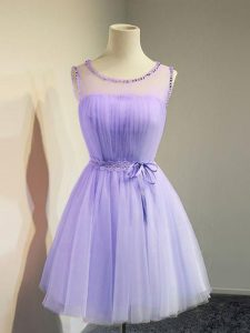 Pretty Lavender Tulle Lace Up Scoop Sleeveless Knee Length Court Dresses for Sweet 16 Belt