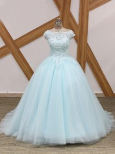 Light Blue Ball Gowns Tulle Scoop Sleeveless Beading and Lace Zipper Quinceanera Dresses Brush Train