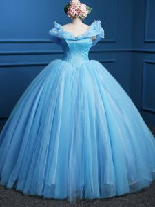 Artistic Sleeveless Floor Length Appliques Zipper Ball Gown Prom Dress with Baby Blue