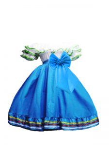 Great Baby Blue Short Sleeves Ruffled Layers and Bowknot Floor Length Little Girl Pageant Dress