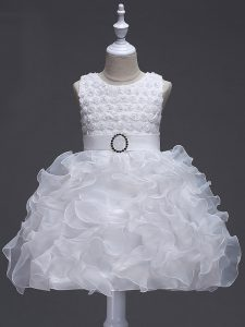 White Sleeveless Knee Length Ruffles and Belt Lace Up Pageant Dress Womens