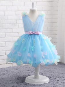 Baby Blue Sleeveless Knee Length Appliques and Hand Made Flower Zipper Glitz Pageant Dress