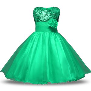 Turquoise Ball Gowns Organza and Sequined Scoop Sleeveless Belt and Hand Made Flower Knee Length Zipper Flower Girl Dresses