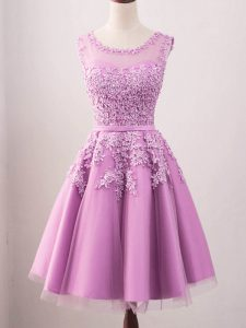Glamorous Sleeveless Tulle Knee Length Lace Up Court Dresses for Sweet 16 in Lilac with Lace