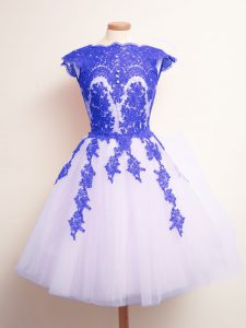 Customized Scalloped Sleeveless Tulle Dama Dress Appliques Lace Up