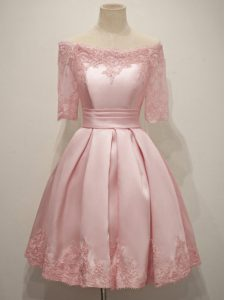 Inexpensive Knee Length Pink Quinceanera Court of Honor Dress V-neck Half Sleeves Lace Up