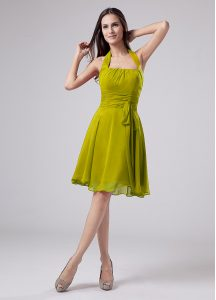 Olive Green Empire Ruching Mother of the Bride Dress Zipper Chiffon Sleeveless Knee Length