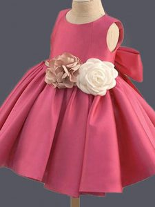 Mini Length Hot Pink Flower Girl Dresses Scoop Sleeveless Clasp Handle