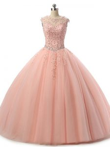 Floor Length Peach Quinceanera Dress Tulle Sleeveless Beading and Lace