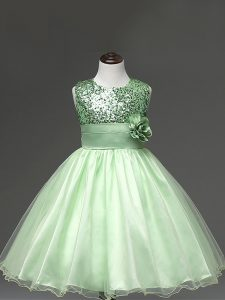 Great Apple Green Tulle Zipper Winning Pageant Gowns Sleeveless Knee Length Sequins and Hand Made Flower
