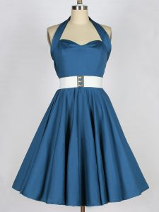 Halter Top Sleeveless Taffeta Quinceanera Dama Dress Belt Lace Up