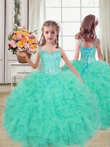 Floor Length Turquoise Little Girls Pageant Dress Wholesale Straps Sleeveless Lace Up