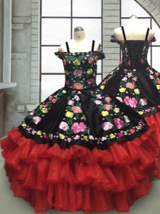 Red And Black Organza Lace Up Little Girl Pageant Dress Sleeveless Floor Length Embroidery and Ruffled Layers