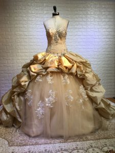 Eye-catching Gold Sleeveless Taffeta and Tulle Court Train Lace Up Sweet 16 Dresses for Military Ball and Sweet 16 and Quinceanera