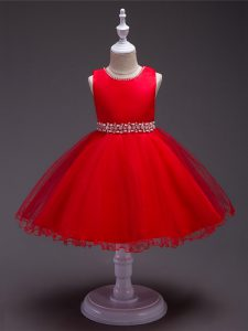 Sleeveless Beading Zipper Little Girls Pageant Gowns