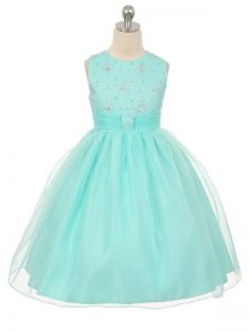 Gorgeous Tulle Sleeveless Knee Length Pageant Dress and Beading
