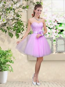 Sleeveless Tulle Knee Length Lace Up Court Dresses for Sweet 16 in Lavender with Lace and Belt