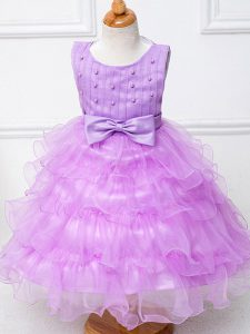 Beauteous Lilac Organza Zipper Pageant Dress for Teens Sleeveless Tea Length Ruffled Layers and Bowknot