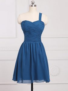 Blue Dama Dress for Quinceanera Prom and Party and Wedding Party with Ruching One Shoulder Sleeveless Zipper