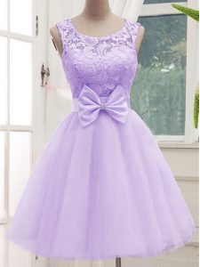 Hot Selling Lavender Sleeveless Lace and Bowknot Knee Length Damas Dress