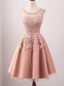 Knee Length Pink Quinceanera Court Dresses Scoop Sleeveless Lace Up