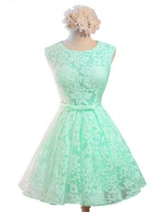 Apple Green A-line Scoop Sleeveless Lace Knee Length Lace Up Belt Dama Dress for Quinceanera