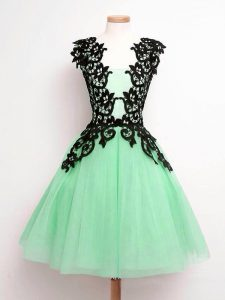 Traditional Tulle Straps Sleeveless Lace Up Lace Quinceanera Dama Dress in Apple Green