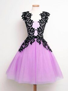 Best Lilac Sleeveless Knee Length Lace Lace Up Dama Dress