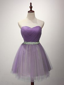 Tulle Sleeveless Mini Length Quinceanera Court Dresses and Ruching