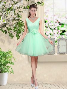 High End Apple Green A-line Tulle V-neck Sleeveless Lace and Belt Knee Length Lace Up Damas Dress