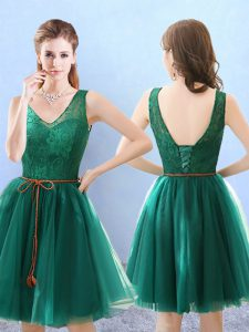 Sophisticated Green Tulle Backless Vestidos de Damas Sleeveless Knee Length Lace