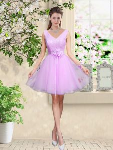 Affordable Lilac Sleeveless Knee Length Lace and Belt Lace Up Quinceanera Court of Honor Dress