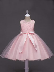Perfect Baby Pink Tulle Zipper Flower Girl Dresses Sleeveless Knee Length Lace and Belt