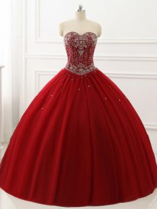 Classical Wine Red Sweetheart Neckline Beading Sweet 16 Dresses Sleeveless Lace Up