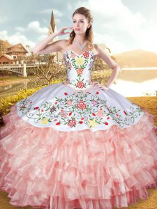 Free and Easy Sleeveless Embroidery and Ruffled Layers Lace Up Quinceanera Dresses