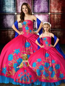 Taffeta Strapless Sleeveless Lace Up Embroidery Ball Gown Prom Dress in Hot Pink