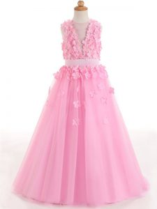 Hot Selling Rose Pink A-line Tulle Scoop Sleeveless Appliques and Bowknot Floor Length Zipper Pageant Gowns For Girls