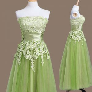 Quinceanera Court of Honor Dress Prom and Party and Wedding Party with Appliques Strapless Sleeveless Lace Up