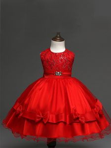 Trendy Red Tulle Zipper Scoop Sleeveless Knee Length Little Girl Pageant Gowns Lace and Bowknot