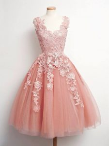 Customized Peach Ball Gowns Tulle V-neck Sleeveless Lace Knee Length Lace Up Vestidos de Damas