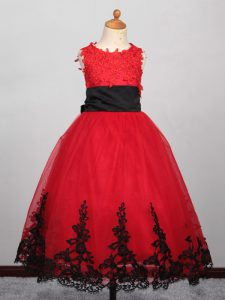 Most Popular Red Pageant Dress Toddler Wedding Party with Appliques Bateau Sleeveless Lace Up