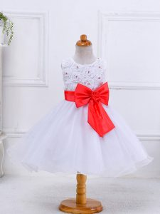 Knee Length White Girls Pageant Dresses Organza Sleeveless Bowknot